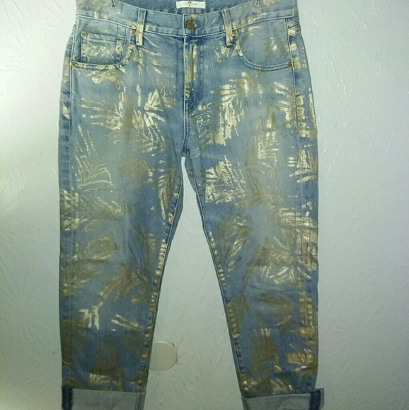 7 For All Mankind Denim - New 7 for all Mankind Jeans 28 Crop Gold Foil